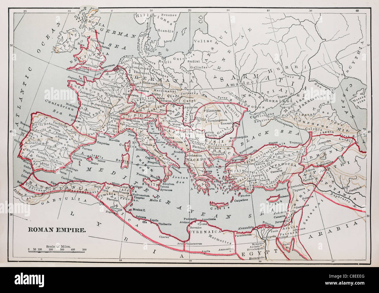 historic Roman Empire Map from 1894 book - Stock Image