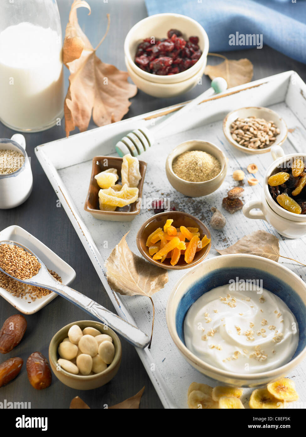 Ingredients for Fromage blanc with muesli and dried fruit - Stock Image
