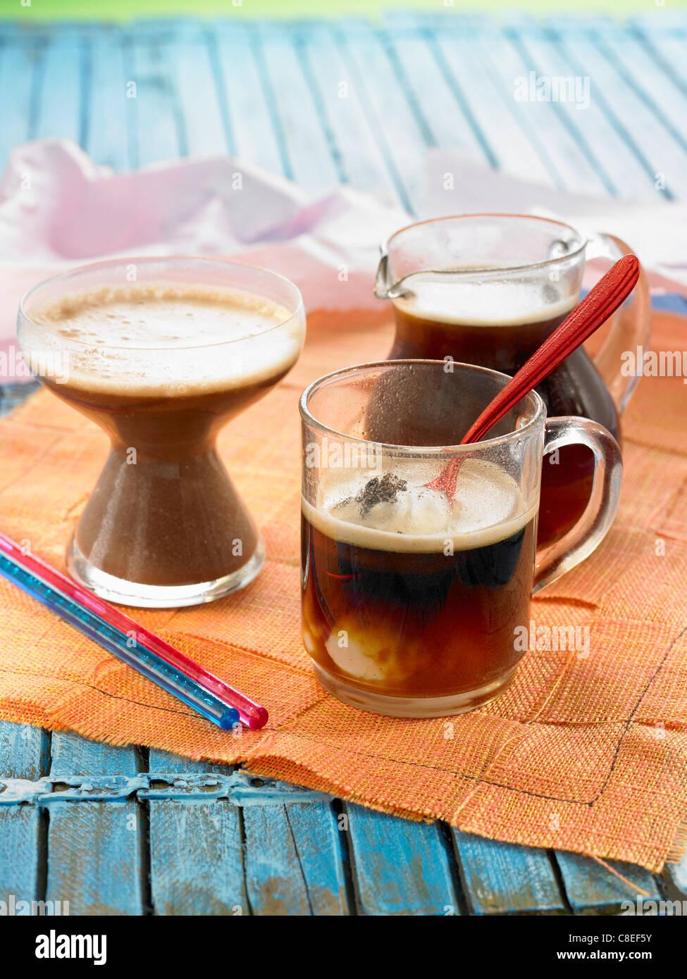Moka Capuccino and iced coffee - Stock Image