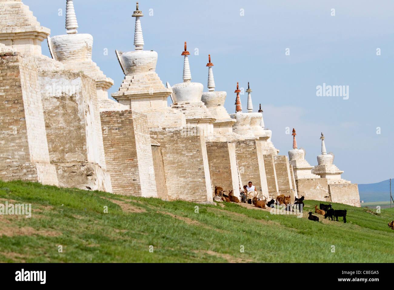 Erdene Zuu monastery in Karakorum Mongolia, exterior with stuppas. - Stock Image