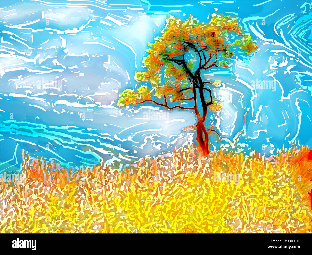 Digital painting in woodcut batik style of a tree, grass and sky - Stock Image