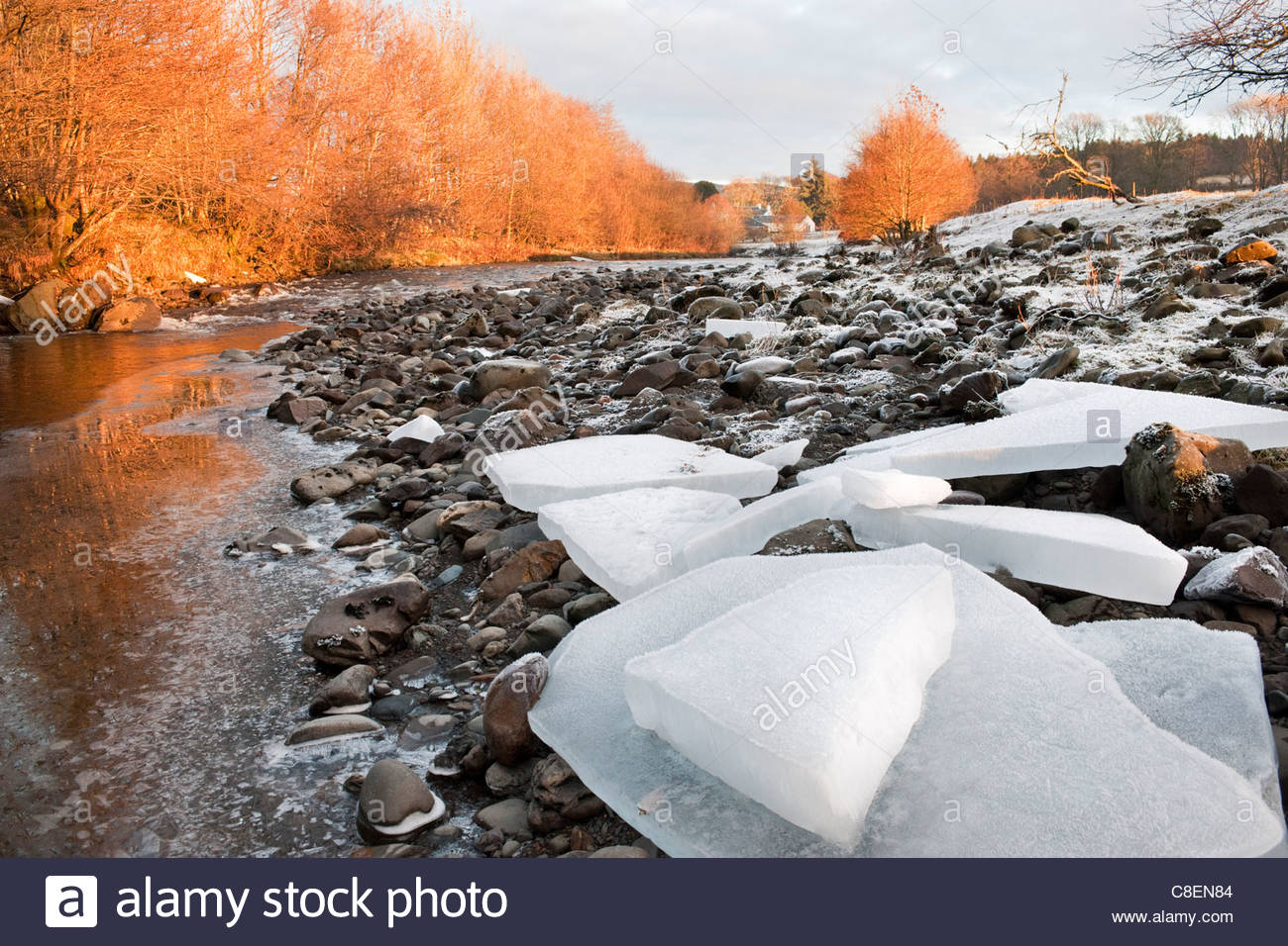 Blocks of pack ice on the banks of the River Stinchar, Ayrshire, Scotland Stock Photo