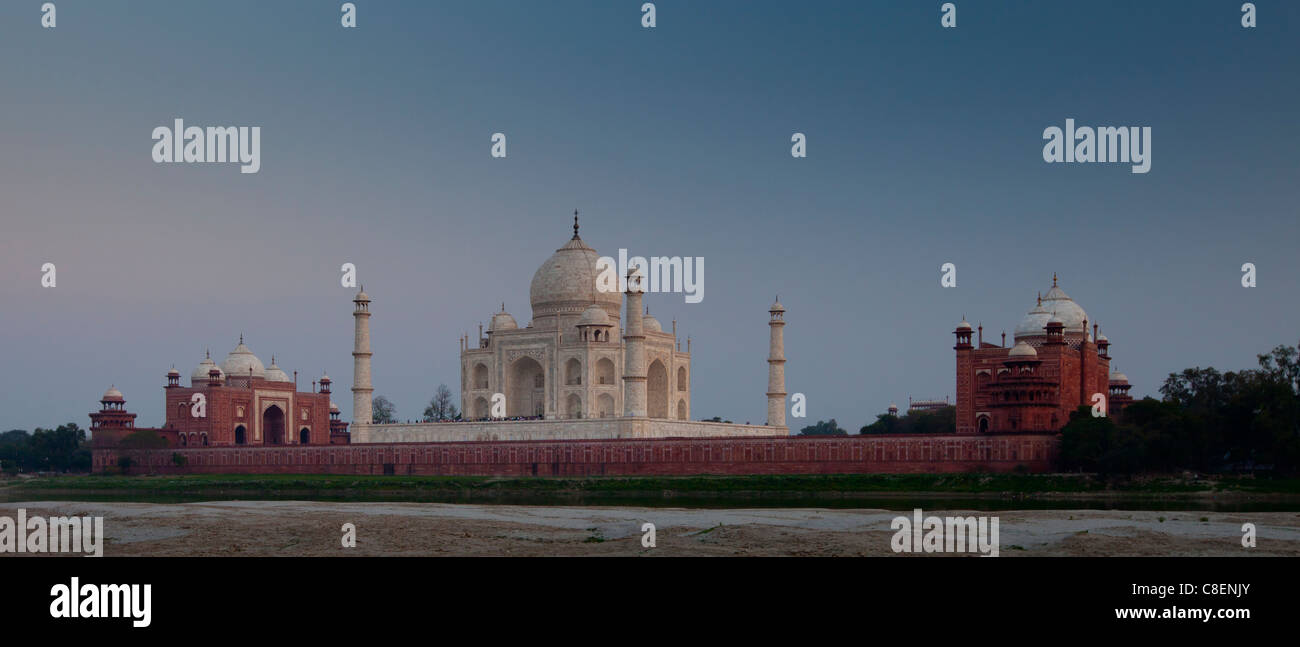 The Taj Mahal North Side viewed across Yamuna River at sunset , India - Stock Image