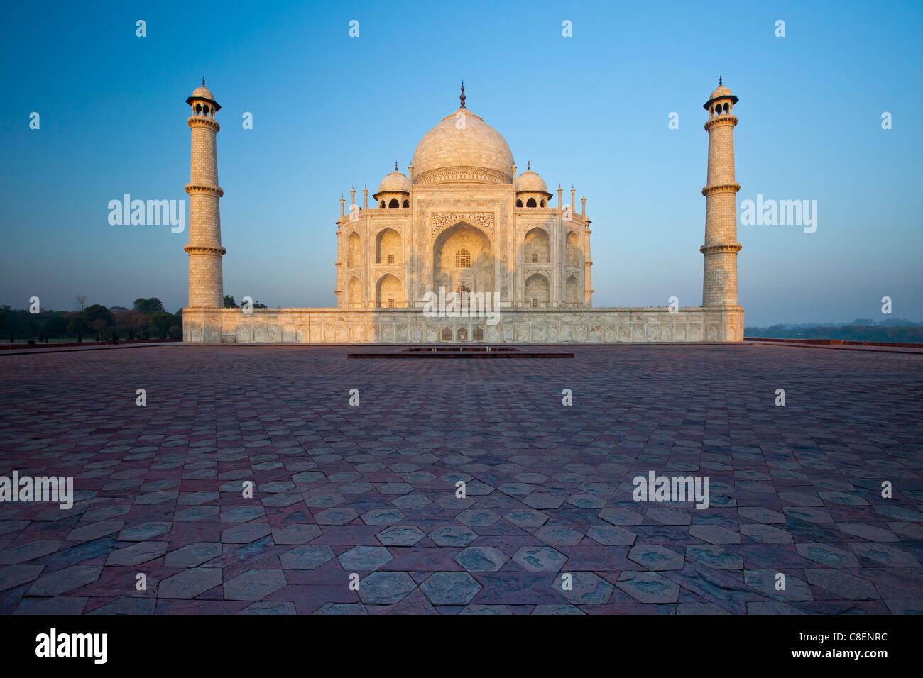 The Taj Mahal mausoleum eastern view (viewed from Taj Mahal Mosque), Uttar Pradesh, India - Stock Image