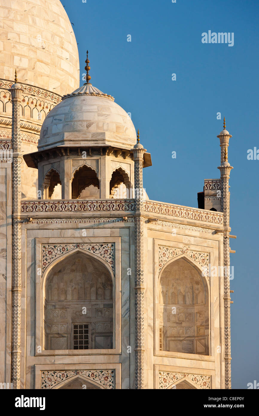 Iwans of The Taj Mahal mausoleum, western view detail diamond facets with bas relief marble, Uttar Pradesh, India - Stock Image