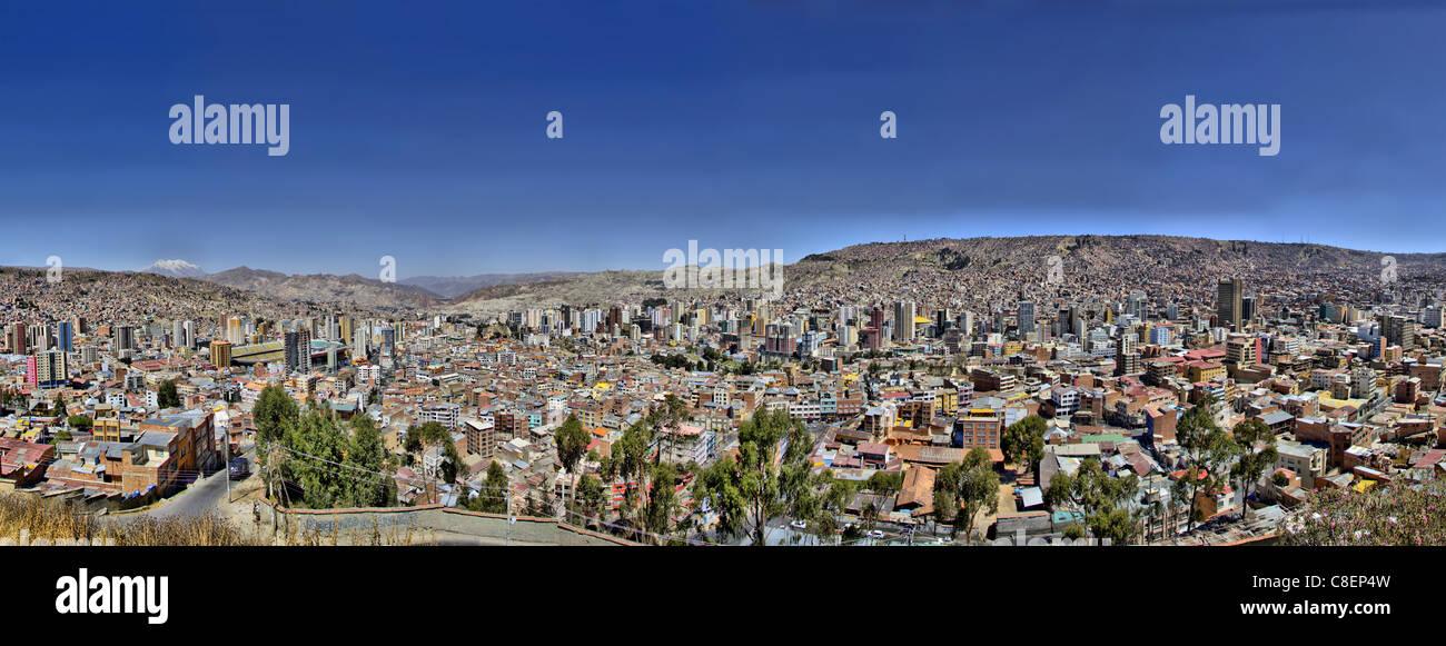 la paz bolivia killi killi viewpoint panorama city capital south america Illampu Mountain andes Cordillera Real - Stock Image