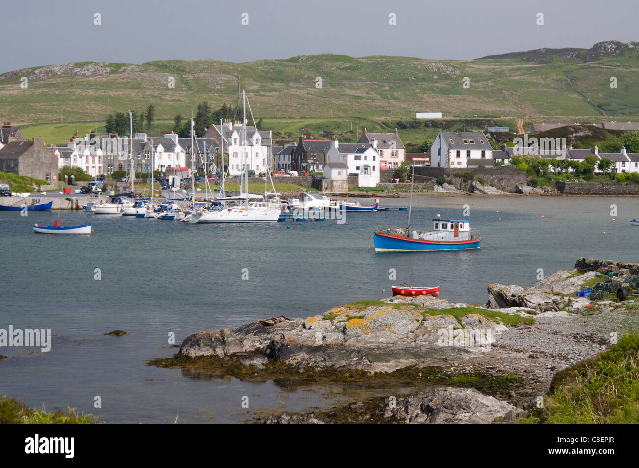 Fishing boats in the harbour at Port Ellen, Isle of Islay, Inner Hebrides, Scotland, United Kingdom - Stock Image