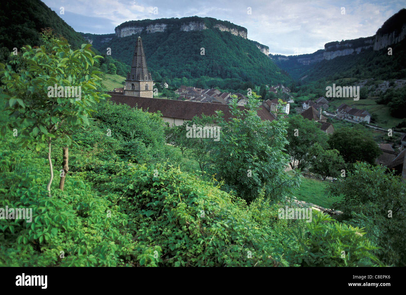 Baume les Messieurs, Franche Comte, France, Europe, village, green - Stock Image