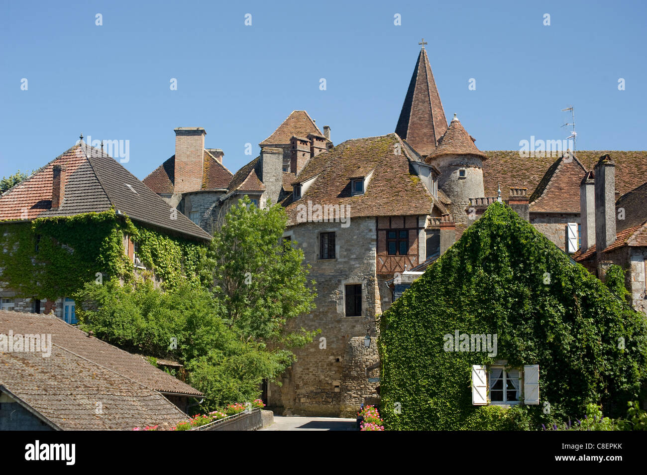 Picturesque village of Carennac and typical Quercy architecture situated on the banks of the Dordogne River, Dordogne, - Stock Image