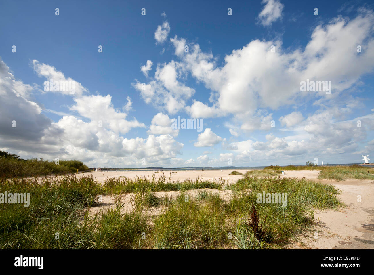 the long beach of the polish seaside resort Swinoujscie, Uznam Island, Poland, Europe Stock Photo