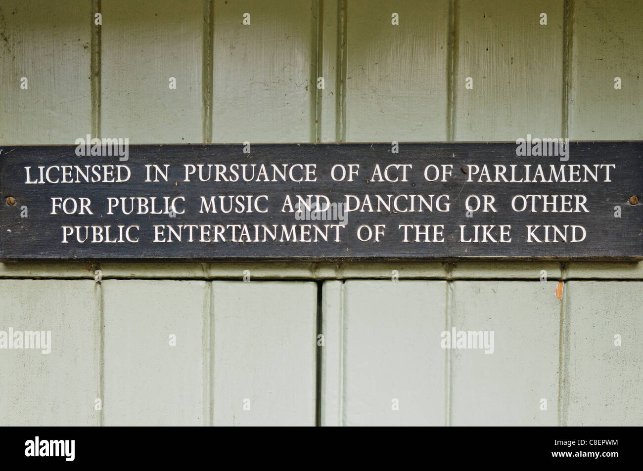 Sign licencing premises for public music and dancing and other public entertainment - Stock Image