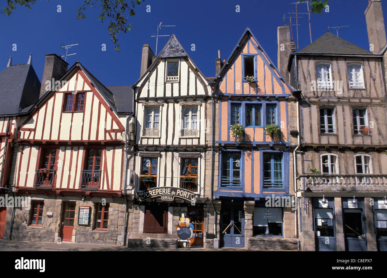 Wood framed, Houses, Vannes, Brittany, France, Europe, half-timbered - Stock Image