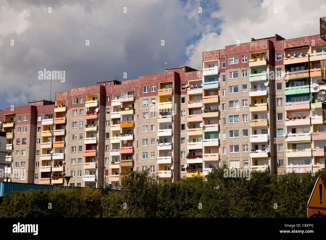 east european apartment blocks Panelak or Plattenbauten in the centre of Swinoujscie, Uznam Island, Poland, Europe Stock Photo