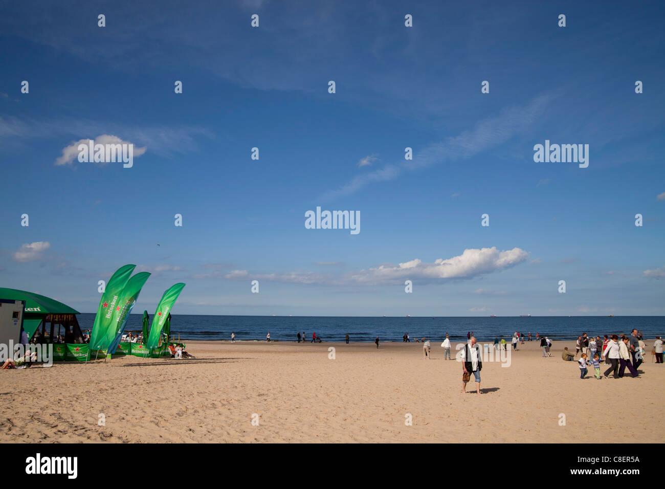 the beach of the polish seaside resort Swinoujscie, Uznam Island, Poland, Europe Stock Photo