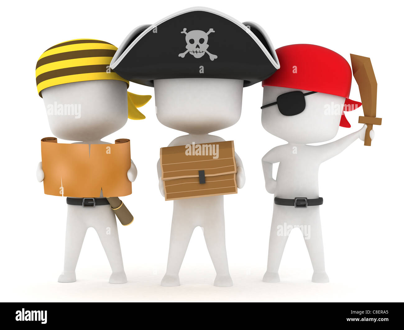 3D Illustration of Kids Dressed as Pirates - Stock Image