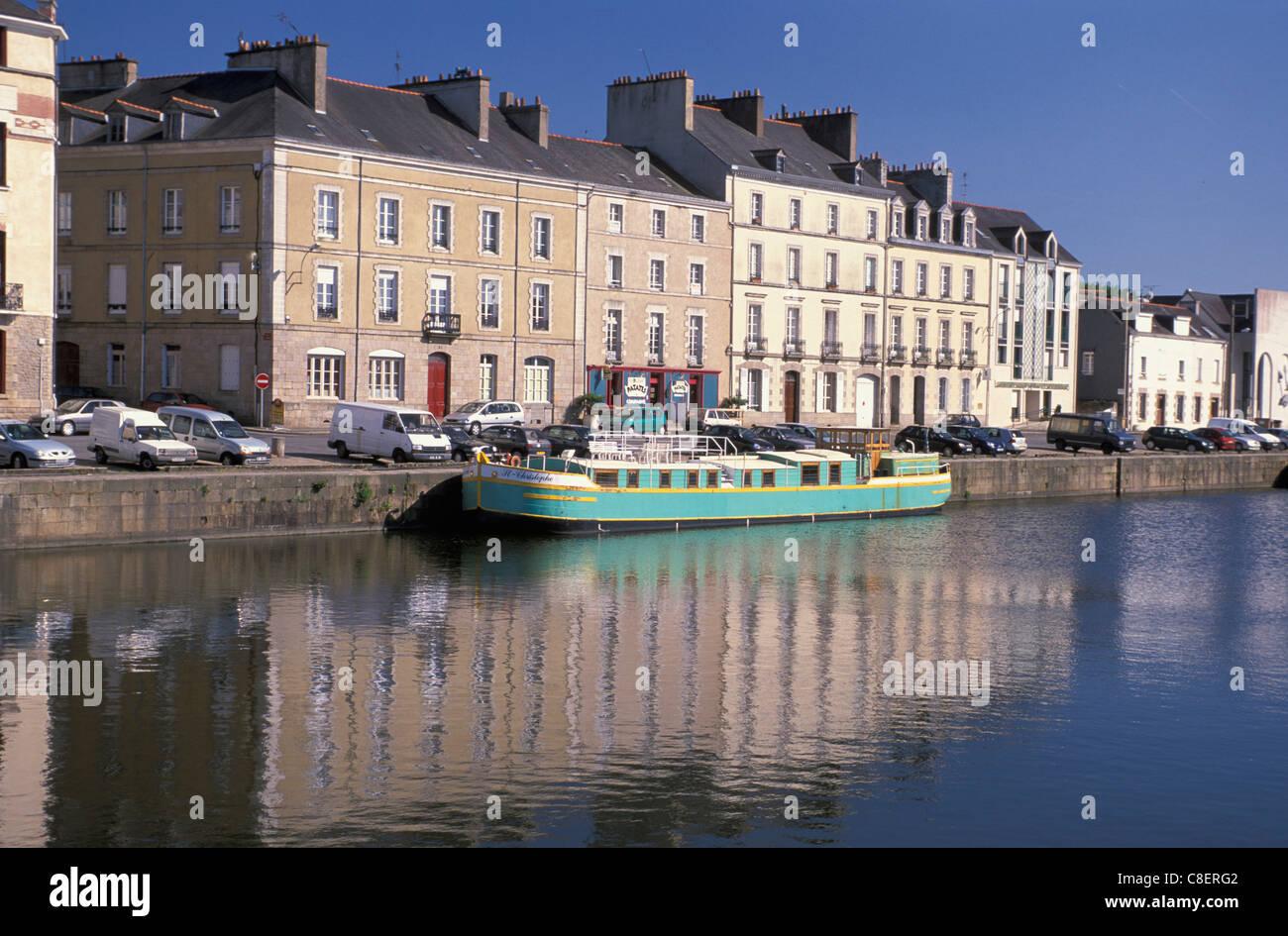 Old Harbor, harbour, Quarter, Quartier de Vieux Port, Redon, Brittany, Bretagne, France, Europe, boat - Stock Image