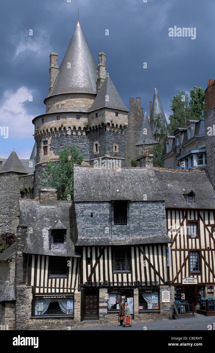 Wood framed, half timbered, houses, Vitre, Brittany, Bretagne, France, Europe, tower - Stock Image