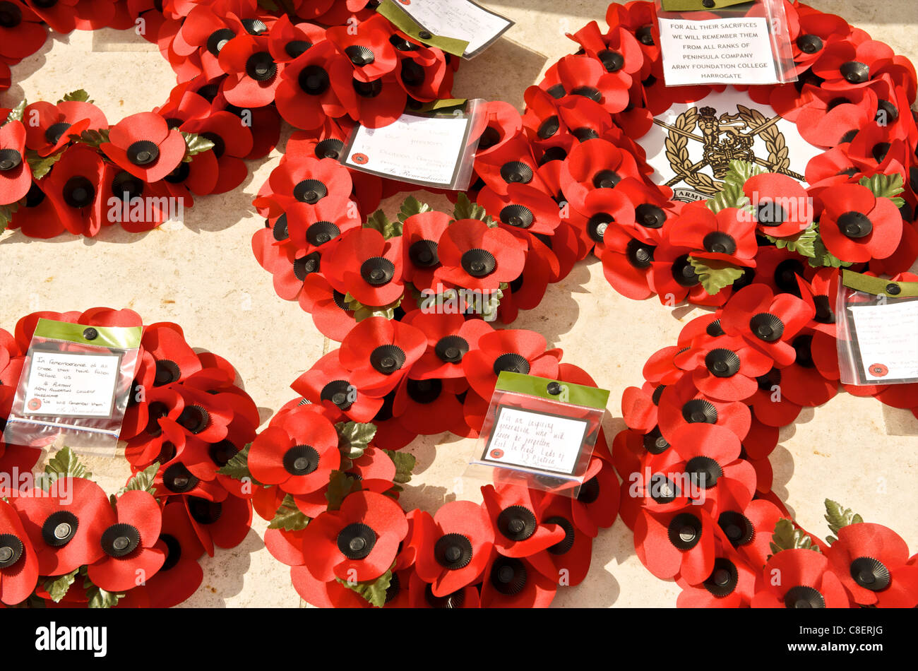 Poppy wreaths in the biggest British Cemetery of the Second World War, Bayeux, Normandy, France - Stock Image
