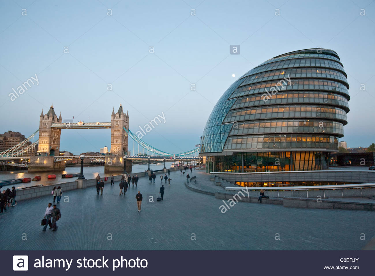 Tower Bridge and London's City Hall building. - Stock Image
