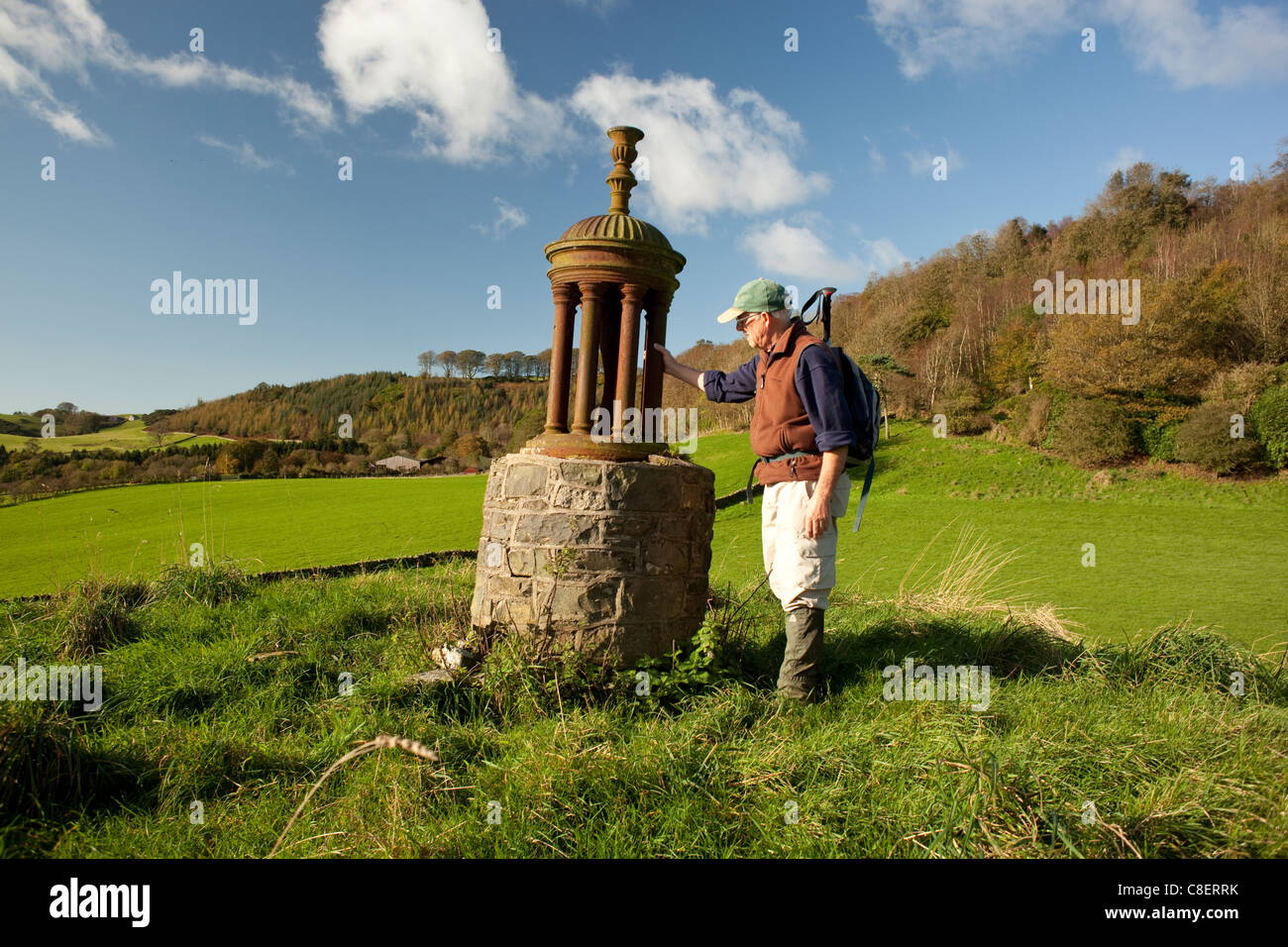 Autumn Galloway Scotland monument on Queen's Hill where Mary Queen of Scots rested on her flight to England - Stock Image