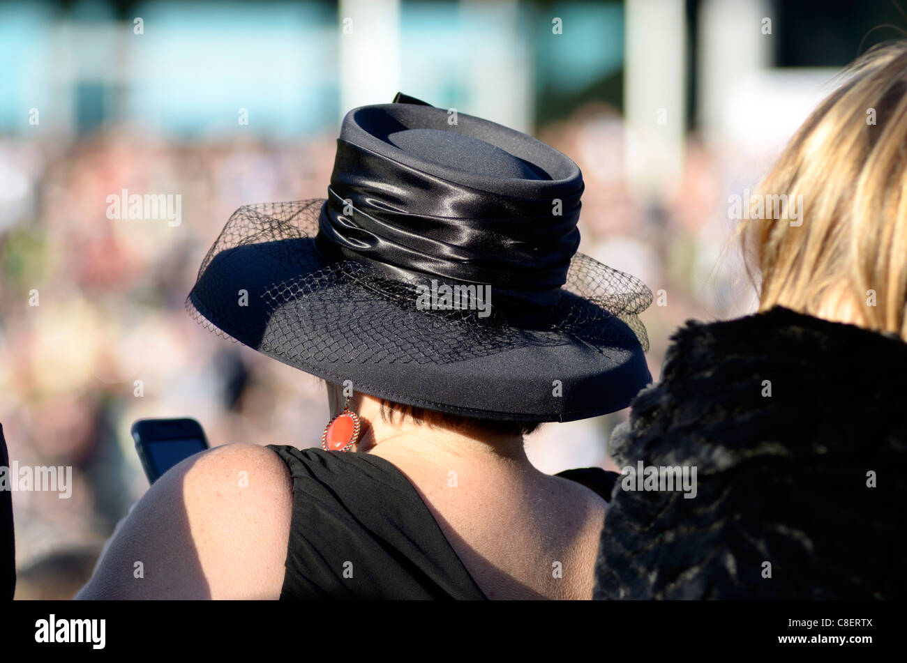 Lady with hat Ascot Racecourse UK - Stock Image