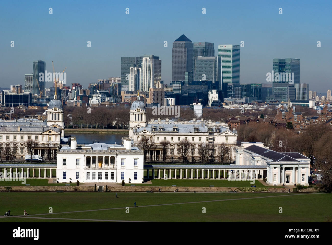 Greenwich Park overlooking the Royal Maritime Museum, UNESCO World Heritage Site, London, England,UK - Stock Image