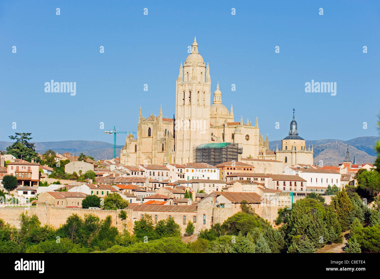 Gothic style Segovia Cathedral dating from 1577, UNESCO World Heritage Site, Segovia, Madrid, Spain - Stock Image