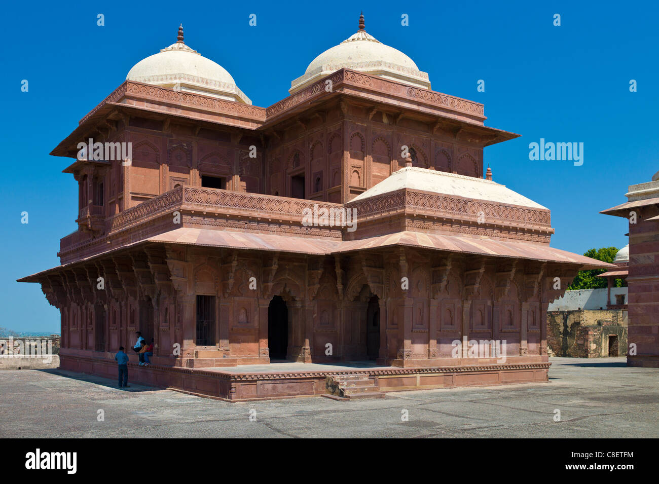 Tourists at Fatehpur Sikri 17th Century historic palace and city of Mughals, UNESCO World Heritage Site at Agra, - Stock Image