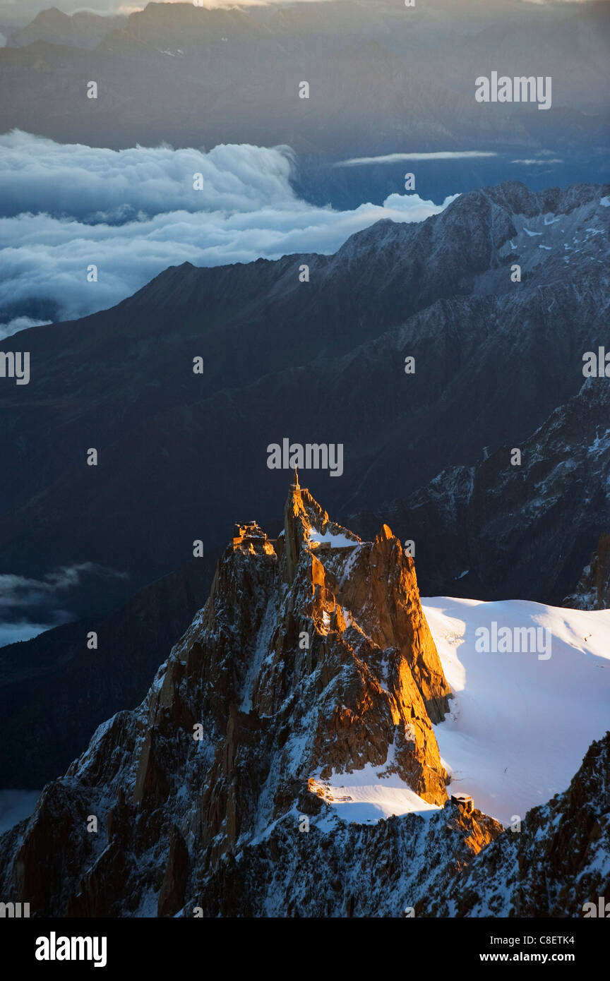 Sunrise on Aiguille du Midi cable car station, Mont Blanc range, Chamonix, French Alps, France - Stock Image