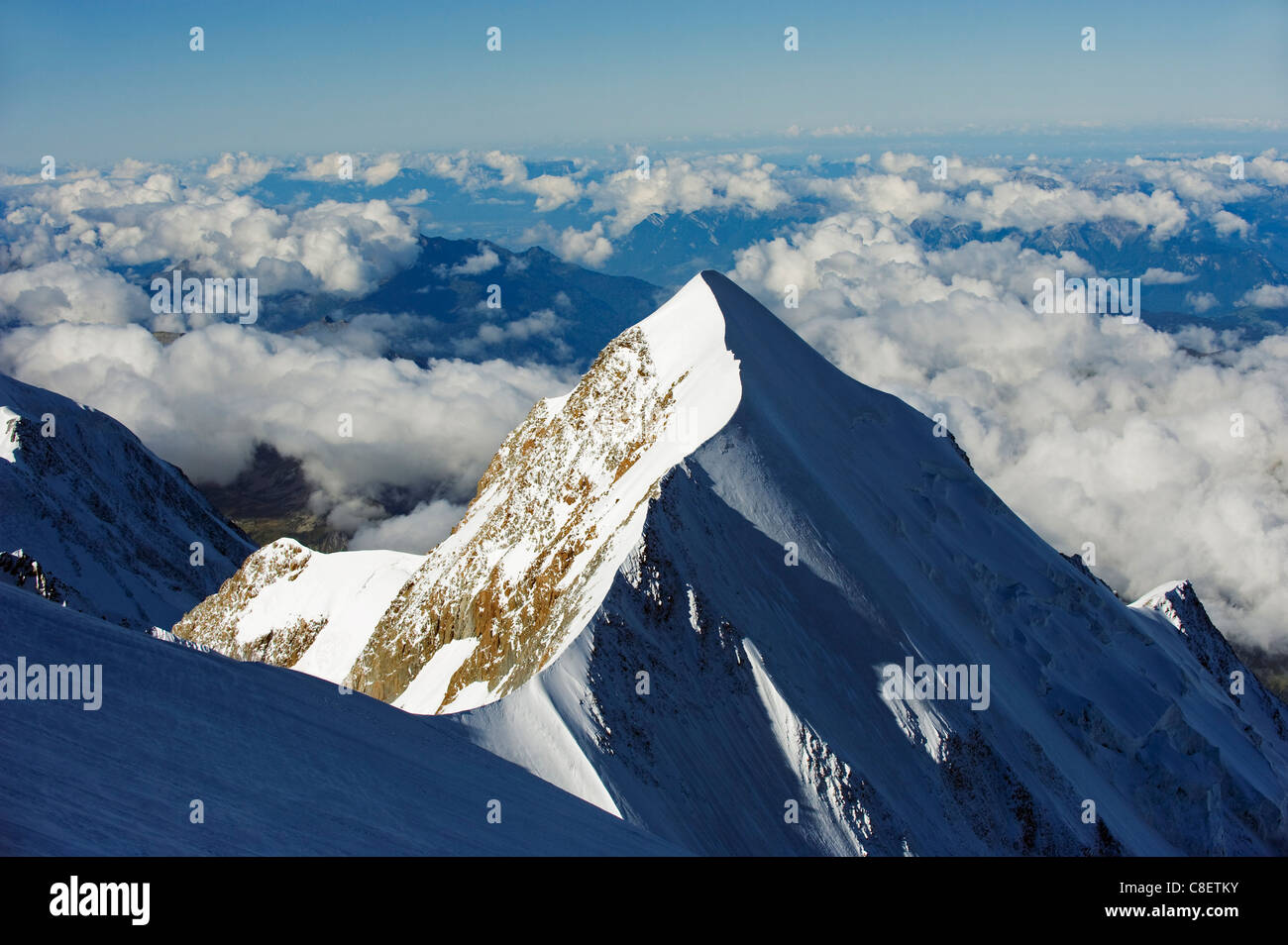 Aiguille de Bionnassay, 4052m, from Mont Blanc, Chamonix, French Alps, France - Stock Image