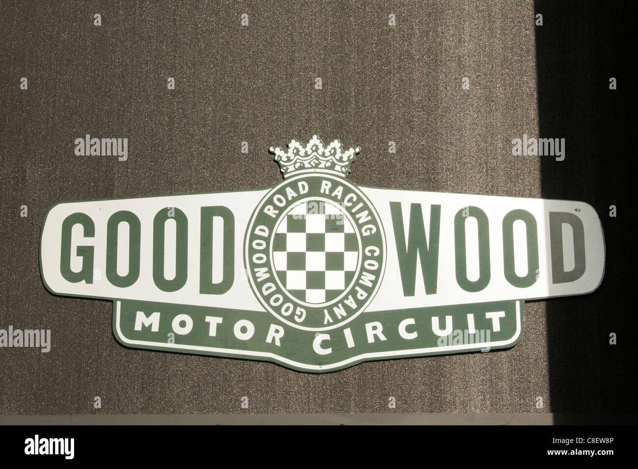 Goodwood Motor Racing Circuit sign - Stock Image