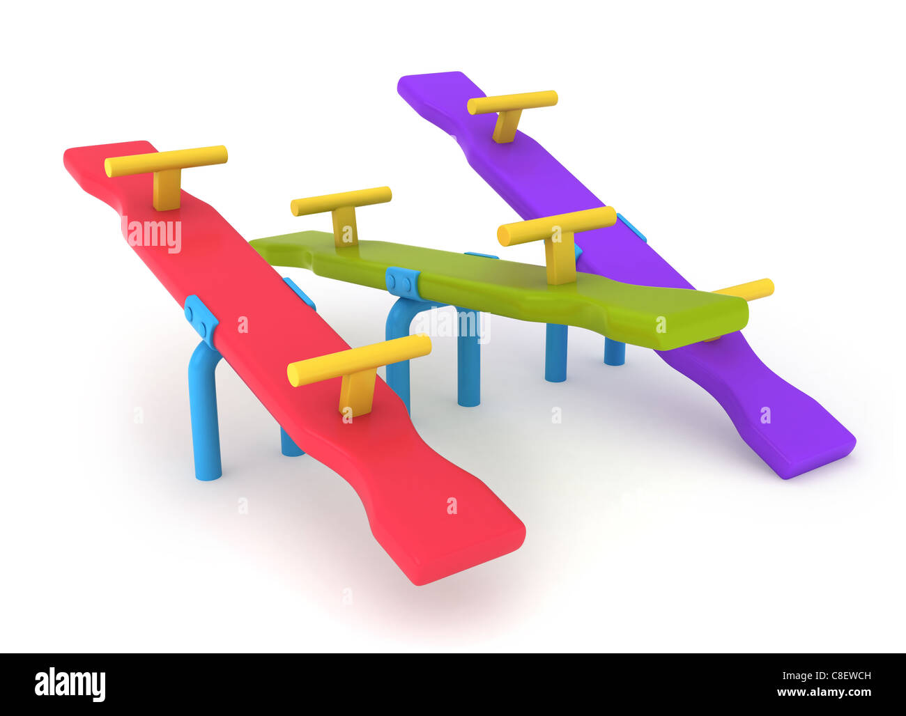 3D Illustration of Seesaws - Stock Image
