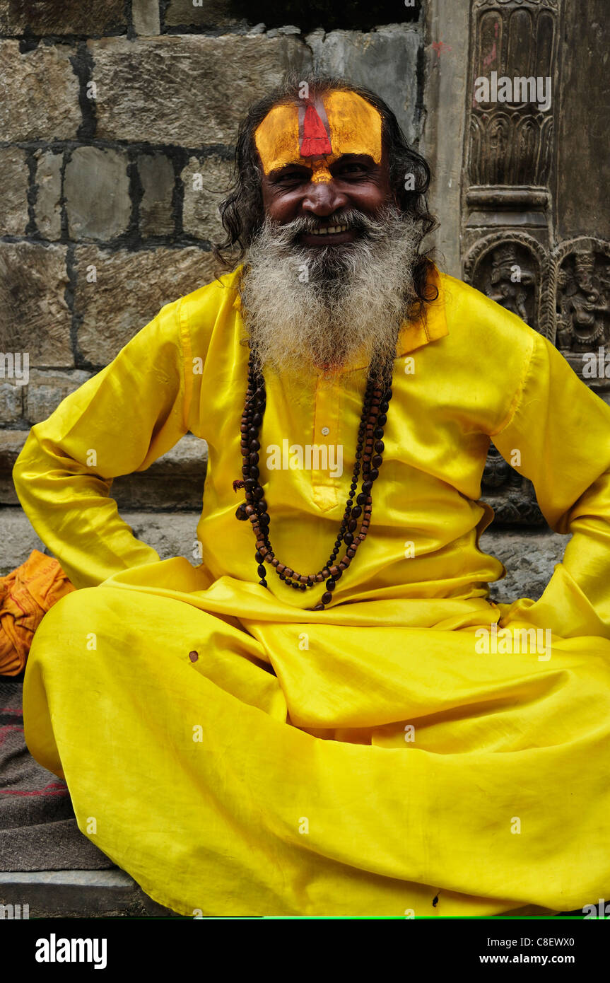 Portrait of Sadhu, Pashupatinath temple, UNESCO World Heritage Site, Kathmandu, Nepal Stock Photo
