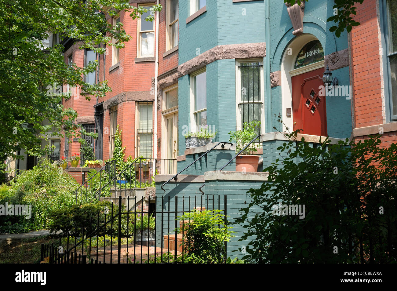 Houses, near Du Pont Circle, Washington D.C., District of Columbia, USA, United States, America, colourful - Stock Image