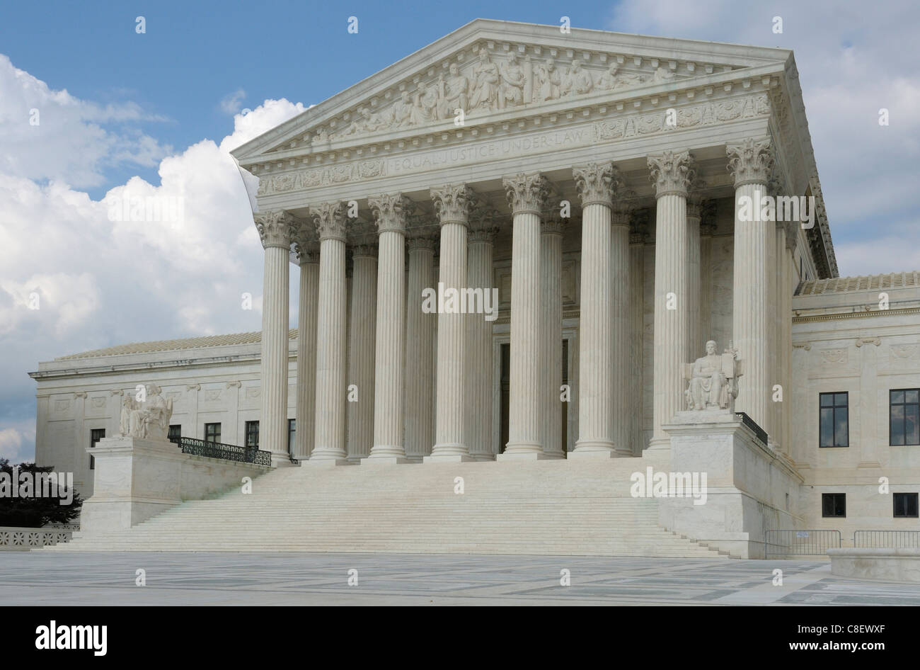 Supreme Court, Building, Washington D.C., District of Columbia, USA, United States, America, columns - Stock Image