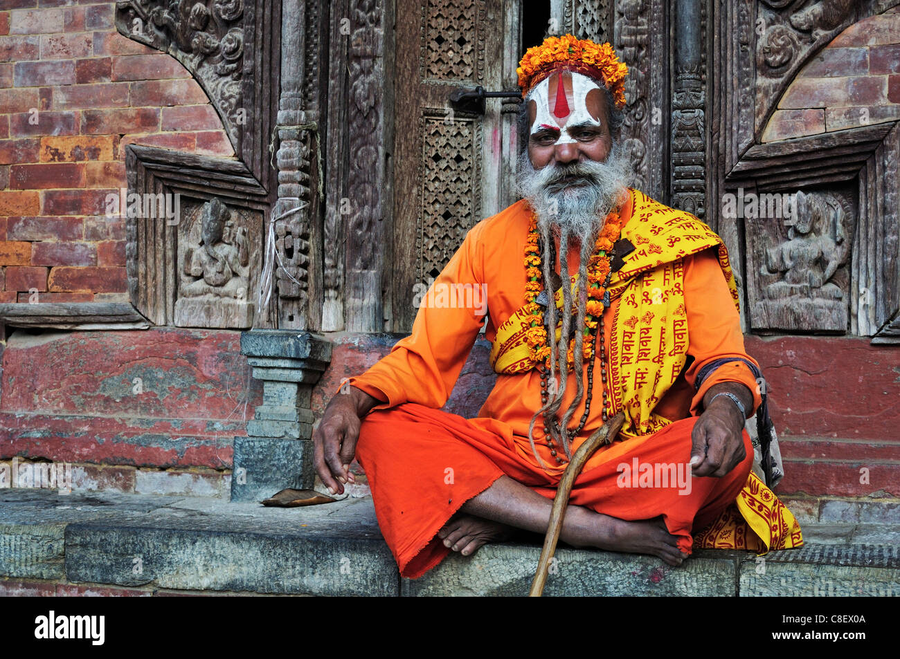 Sadhu, Durbar Square, UNESCO World Heritage Site, Kathmandu, Bagmati, Central Region, Nepal - Stock Image