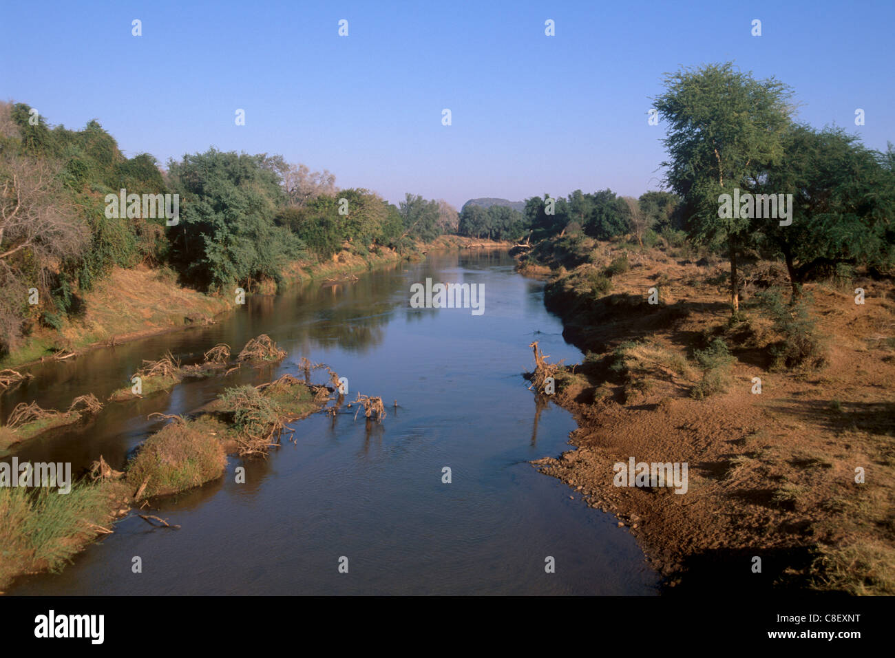 Luvuvhu river, tributary of Limpopo river, northern tip of Kruger National Park, South Africa - Stock Image