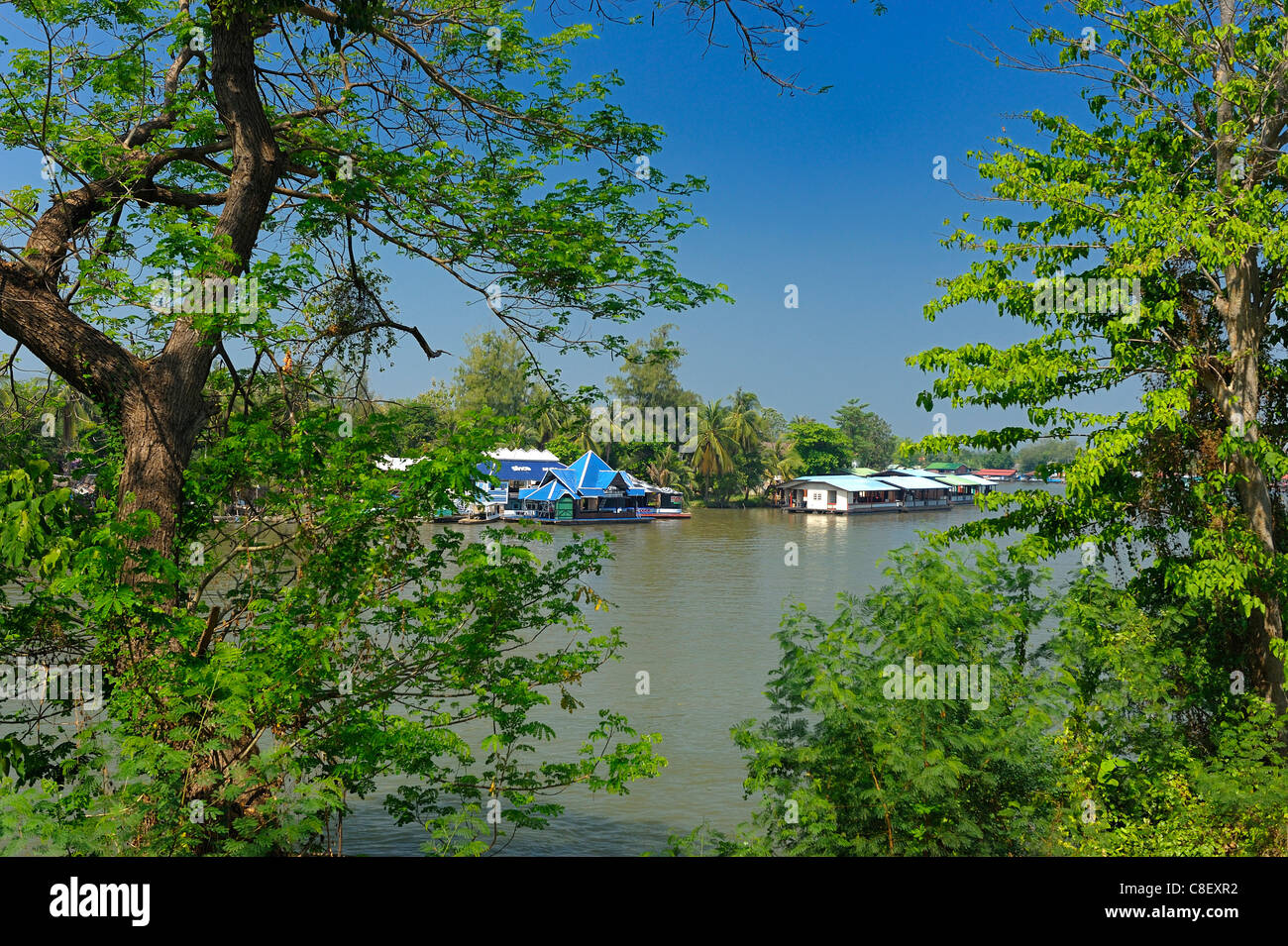 Mae Klong, River, Kanchanaburi, Thailand, Asia, trees - Stock Image