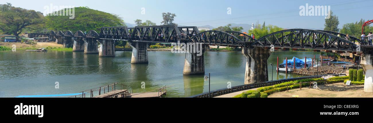 River, Kwai, Railroad, Bridge, Kanchanaburi, Thailand, Asia, - Stock Image