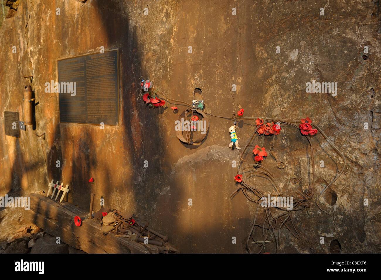Memorial Plaque, Burma Railway, Death Railway, Hellfire Pass, Thailand, Asia, - Stock Image