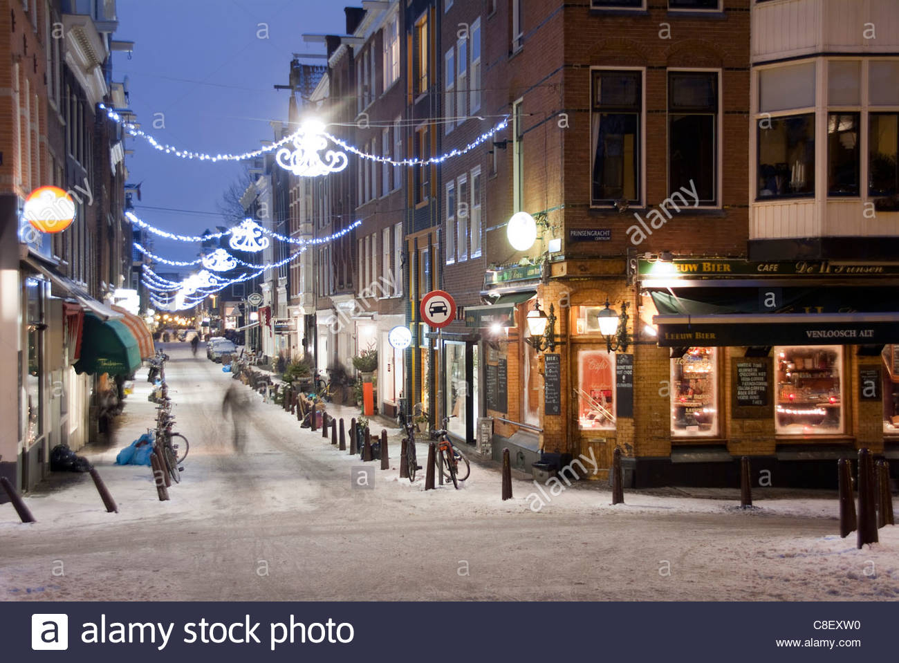 A street scene at Christmastime. - Stock Image