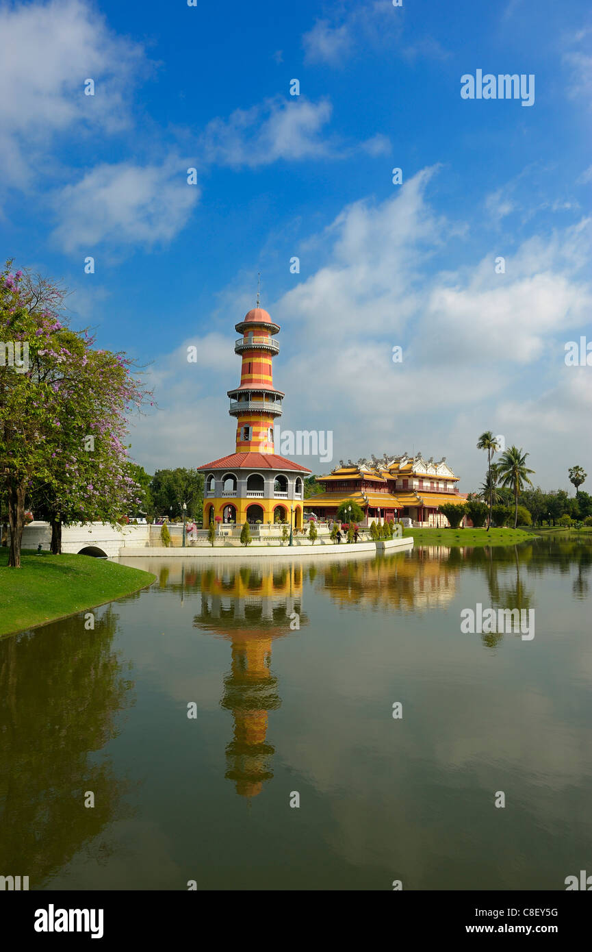 Lighthouse, Ho Withun Thasana, Chinese Pavillion Phra Thinang Bimarn, Bang Pa-In, Palace, Ayutthaya, UNSECO, World - Stock Image