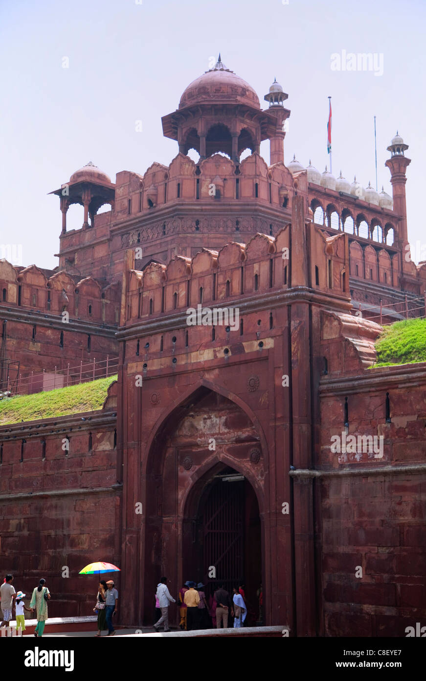 Tourists at Lahore Gate, Red Fort, UNESCO World Heritage Site, Old Delhi, India - Stock Image