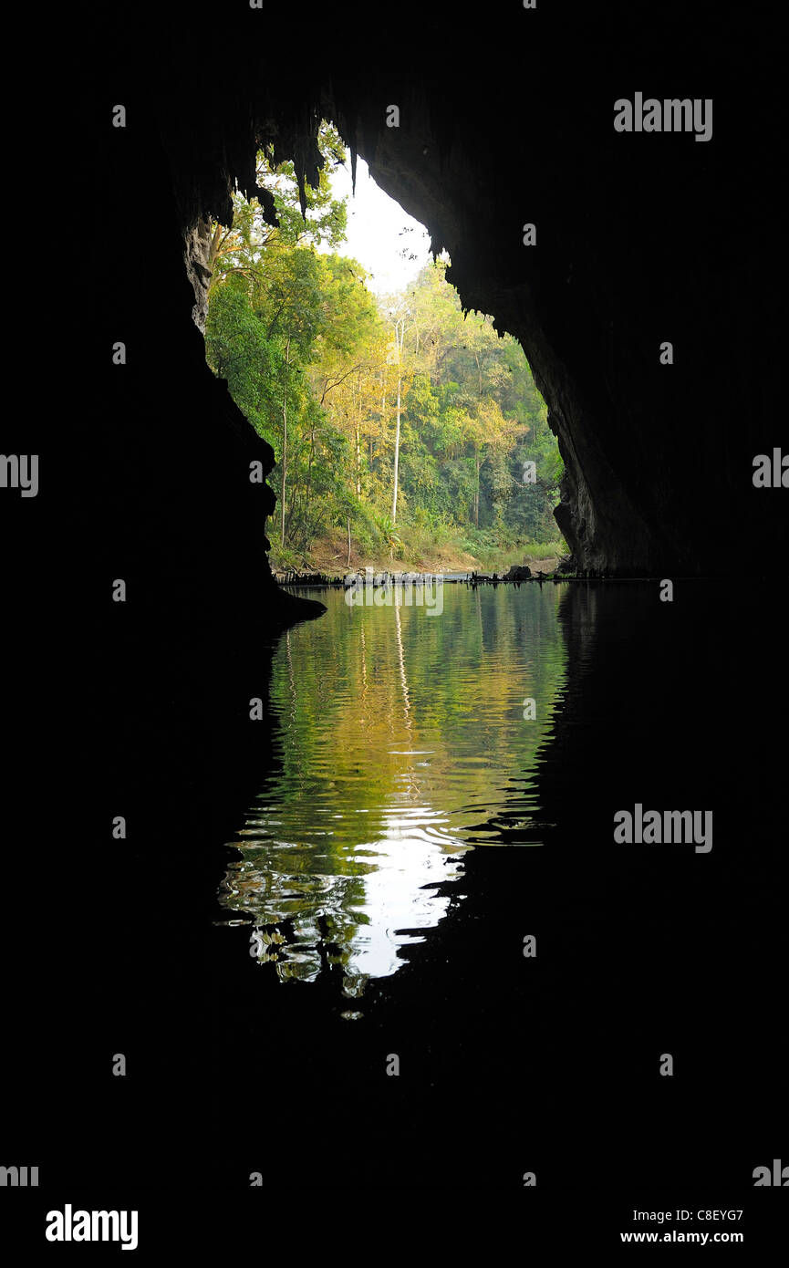 Cave, Tham Lod, Thailand, Asia, water, cavern - Stock Image