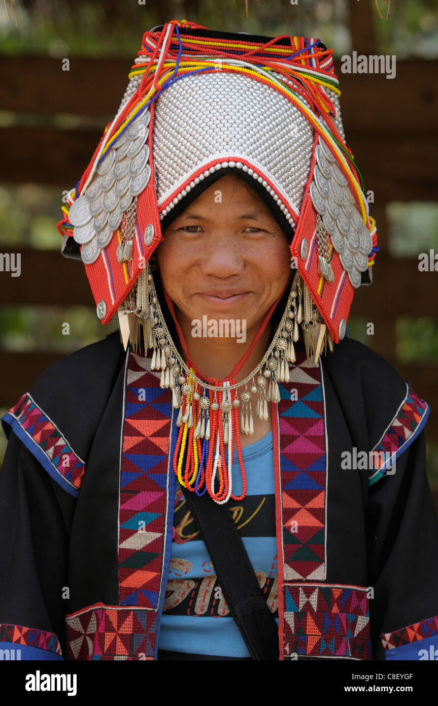 Traditional, Hilltribe, woman, Akha, Village, Ban Lorcha, Thailand, Asia, - Stock Image