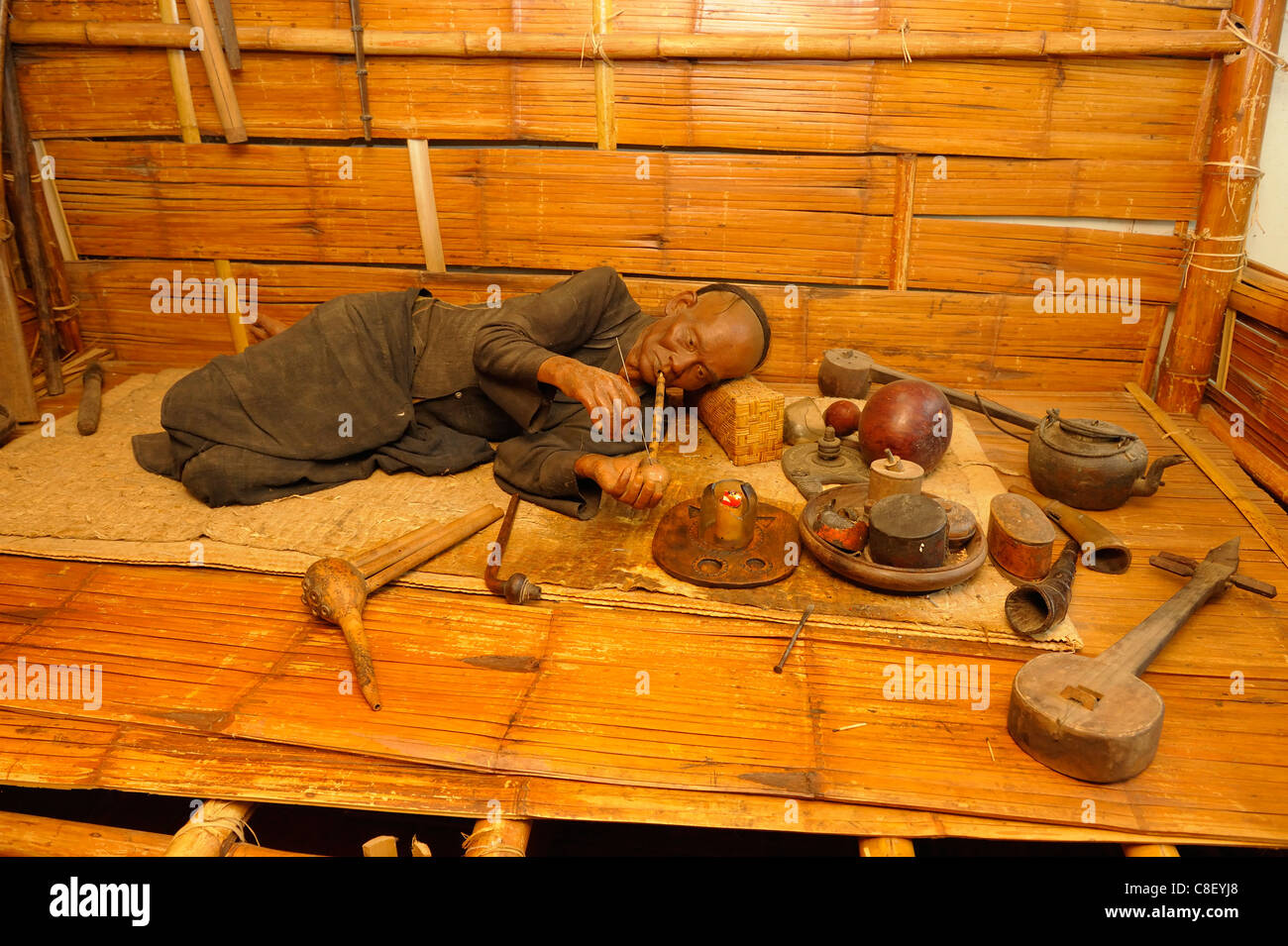 Opium Pipes, House of Opium, Golden Triangle, Thailand, Asia, museum, man, drugs - Stock Image