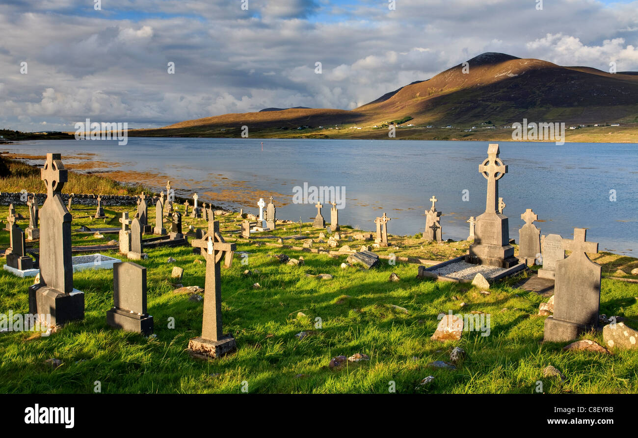 Churchyard, Achill Island, off the coast of County Mayo, Republic of Ireland Stock Photo
