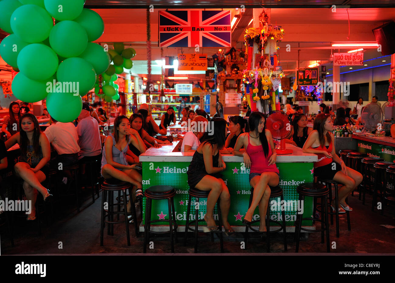 Nightlife, Walking Street, Pattaya, Thailand, Asia, people, bar - Stock Image