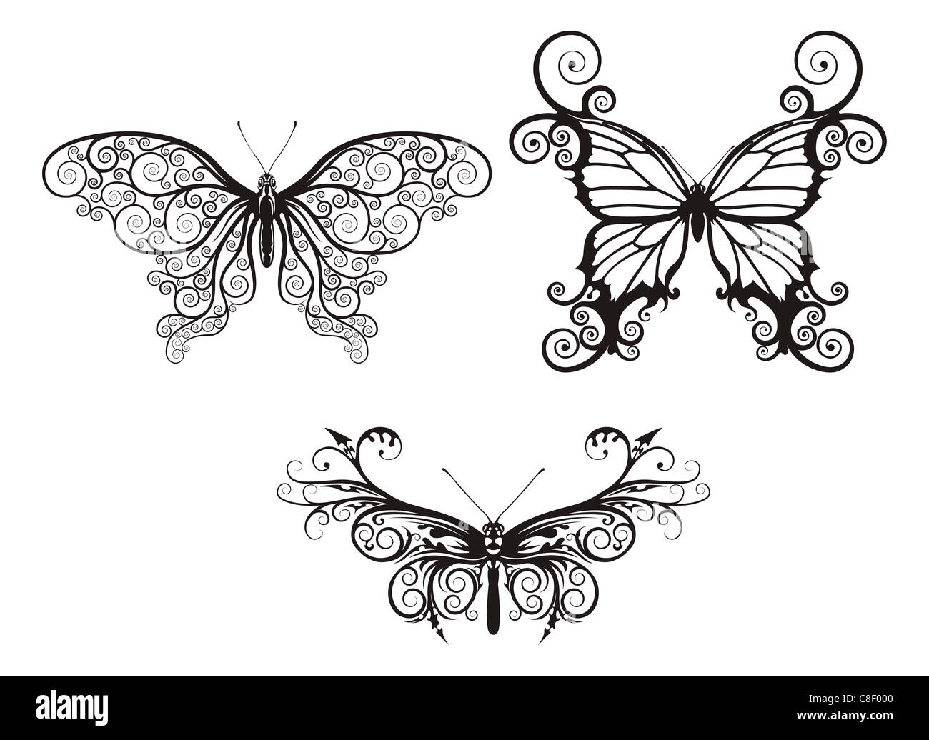Illustrations of stylised abstract butterflies with patterns and swirls making up wings - Stock Image