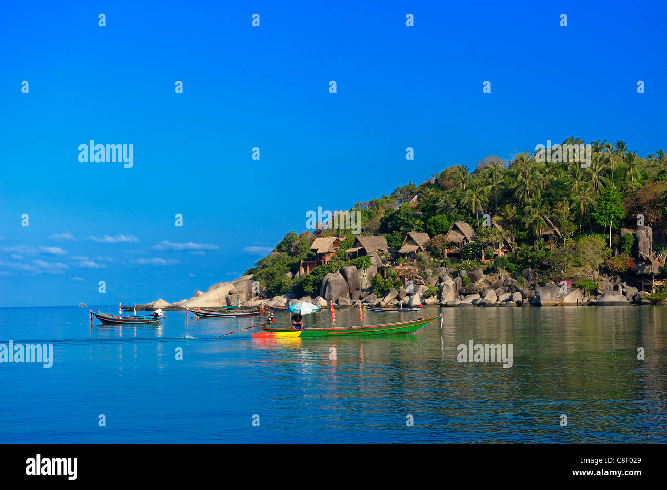 Boats, Sai Ree, Beach, Koh Tao, Thailand, Asia, Stock Photo